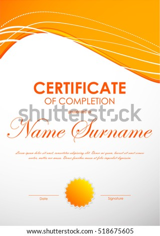 Certificate completion template dynamic bright orange stock vector certificate of completion template with dynamic bright orange curved wavy background and seal vector illustration yadclub Images