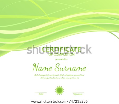 Certificate completion template dynamic light green stock vector certificate of completion template with dynamic light green soft wavy background vector illustration yadclub Choice Image