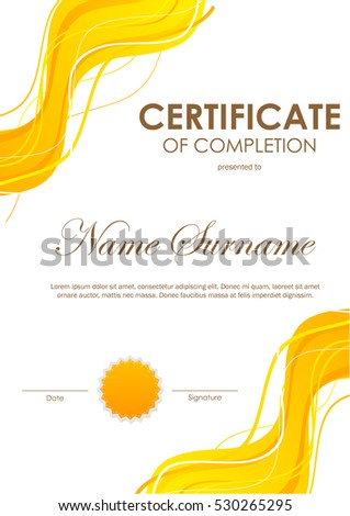 Certificate completion template dynamic orange bright stock vector certificate of completion template with dynamic orange bright wavy background and seal vector illustration yadclub Images