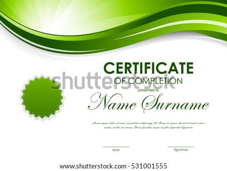 Certificate completion template green dynamic light stock vector certificate of completion template with green dynamic light wavy swirl background and seal vector illustration yadclub Gallery