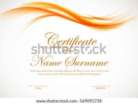 Certificate completion template orange dynamic wavy stock vector certificate of completion template with orange dynamic wavy soft light background vector illustration yadclub Images