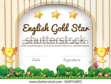 Certificate English Subject Illustration Stock Vector (Royalty Free ...