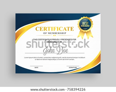 Certificate Of Membership Template With Blue And Golden Design And Badge.  Membership Certificates Templates