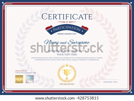 Certificate Of Participation Template In Sport Theme With Gold Trophy Seal  On Award Wreath  Design Of Certificate Of Participation