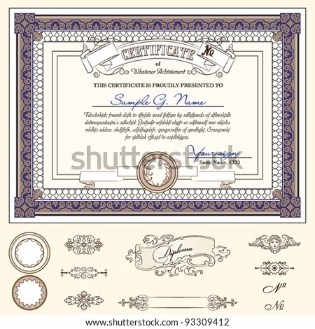 certificate or coupon template with detailed border and additional design elements - stock vector