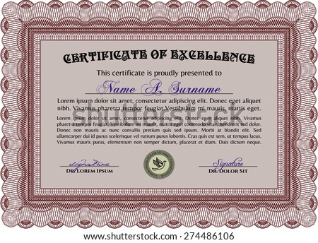 Certificate or diploma template. Vector certificate template.With great quality guilloche pattern. Excellent design.  - stock vector