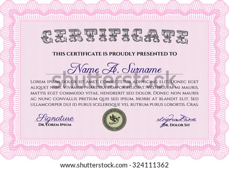 Certificate or diploma template. Vector pattern that is used in money and certificate.With background. Artistry design.