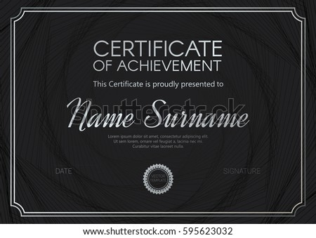 certificate diploma template elegant blacksilverwhite design stock  certificate or diploma template elegant black silver design vector illustration
