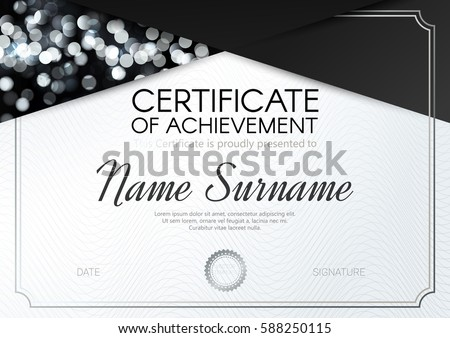 certificate diploma template elegant blacksilverwhite design stock  certificate or diploma template elegant black silver white design vector illustration