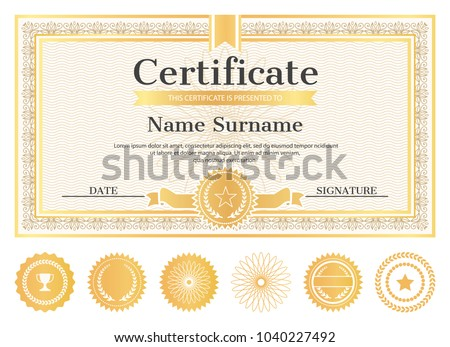 Certificate Sample Place Name Surname Date Stock Vector 1040227492
