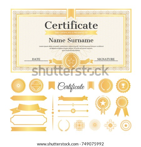 Certificate sample stamps signatures text name stock vector certificate sample with stamps and signatures text and name with surname above it collection yadclub Image collections