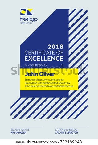 Certificate Template Certificate Excellence Design Graduation Stock ...