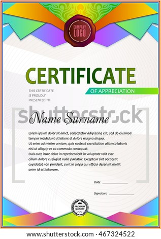 Certificate Template Colorful Polygonal Elements Gradient Stock ...