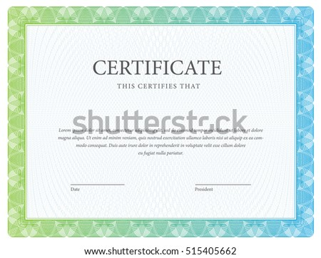 Certificate. Template diploma currency. Award background Gift voucher. Vector