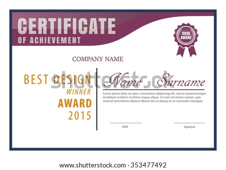 Certificate Template Diploma Layout A 4 Size Stock Vector 353477492