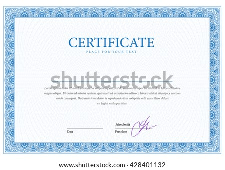 Certificate. Template Diplomas Currency. Award Background. Gift Voucher.  Vector  Blank Voucher Template