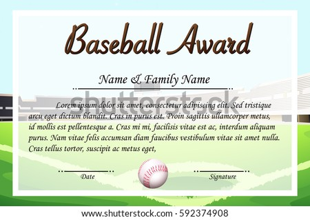 Certificate template baseball award illustration stock vector hd certificate template for baseball award illustration yadclub Choice Image