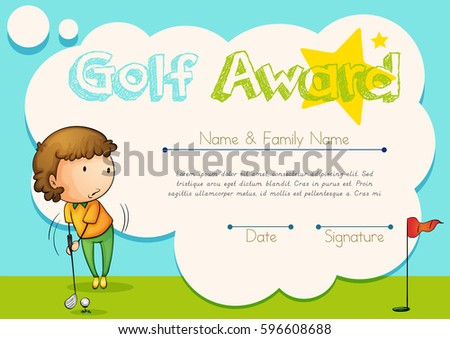 Certificate Template Golf Award Illustration Stock Vector 2018