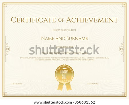 Certificate template vector achievement graduation completion stock certificate template in vector for achievement graduation completion yadclub Choice Image