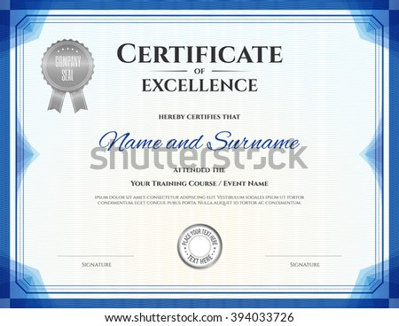 Certificate Template In Vector For Achievement Graduation Completion  Certificates Of Excellence Templates