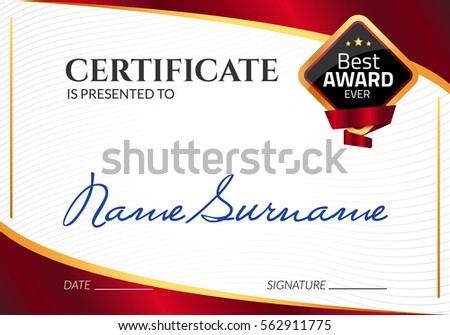 Certificate template luxury award vector business stock vector certificate template luxury award vector business diploma with seal stamp gift coupon or success yelopaper Images