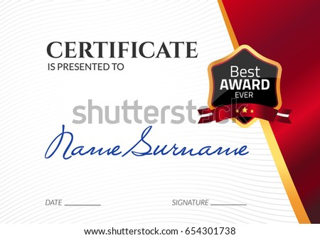 Certificate template luxury award vector business stock photo photo certificate template luxury award vector business diploma with seal stamp gift coupon or success wajeb Image collections