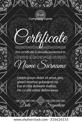 Certificate template ornamental pattern islamic arabic stock certificate template ornamental pattern with islamic arabic indian or ottoman motifs vector yadclub Choice Image