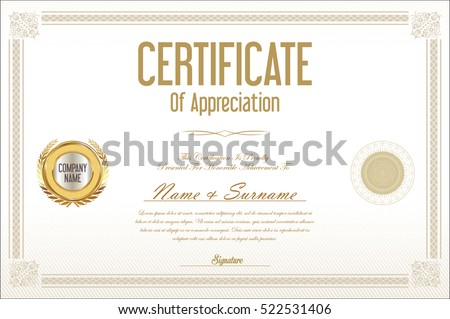 Certificate template retro design background