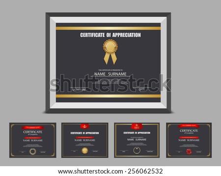 Certificate template set,photo frame,vector - stock vector