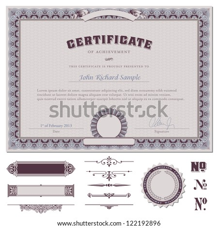 certificate template with additional design elements - stock vector