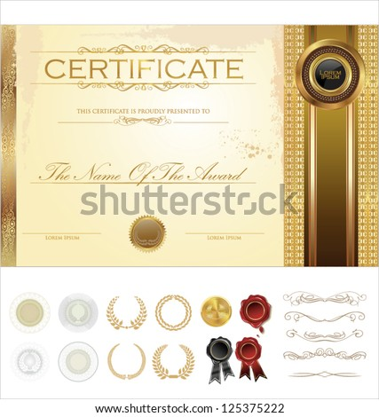 Certificate template additional design elements stock vector certificate template with additional design elements yadclub Gallery