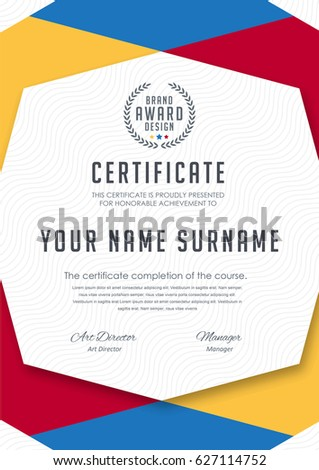 Certificate Template Colorful Patterndiploma Vector Illustration ...