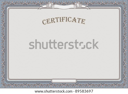 certificate  template with detailed border - stock vector