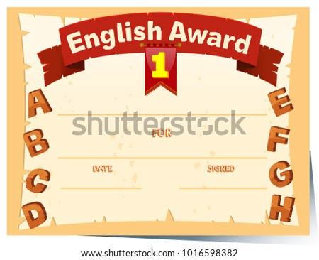Certificate template english award illustration stock vector certificate template with english award illustration yelopaper Choice Image