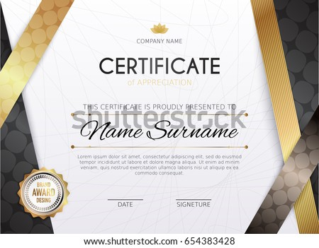 Certificate template golden decoration element design stock vector certificate template with golden decoration element design diploma graduation award vector illustration yadclub Images