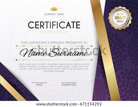 Certificate template luxury golden elegant pattern stock vector certificate template with golden decoration element design diploma graduation award vector illustration yadclub Image collections