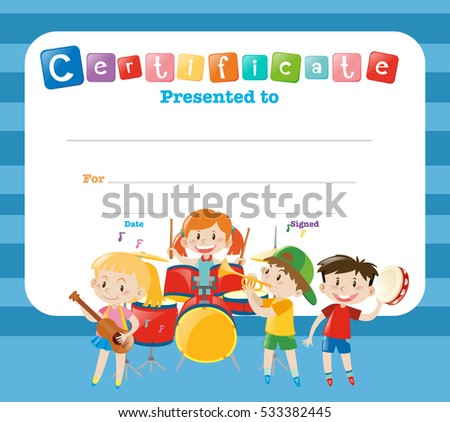 certificate template with kids in the band illustration