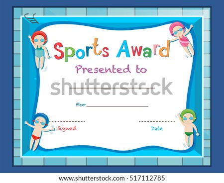 Certificate Template Kids Swimming Illustration Stock ...