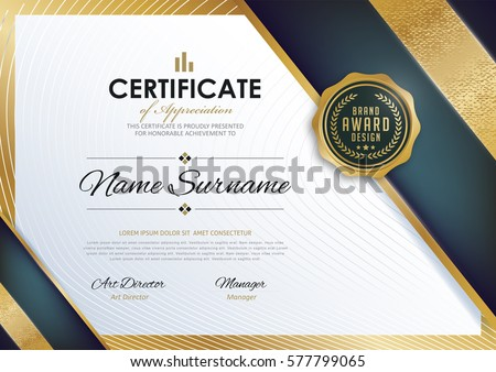 Certificate Template Luxury Modern Patterndiplomavector Illustration