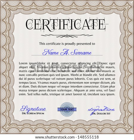 Certificate template sample text stock vector 148555118 shutterstock certificate template with sample text yadclub Images