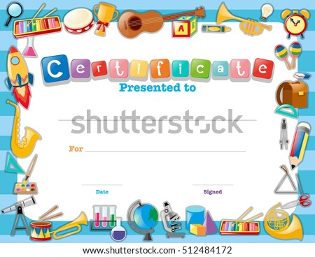 Certificate Template School Items Illustration Stock Vector Hd