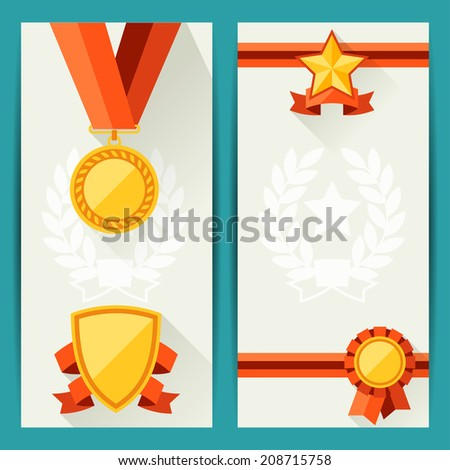Certificate templates awards flat design style stock vector hd certificate templates with awards in flat design style yadclub Choice Image