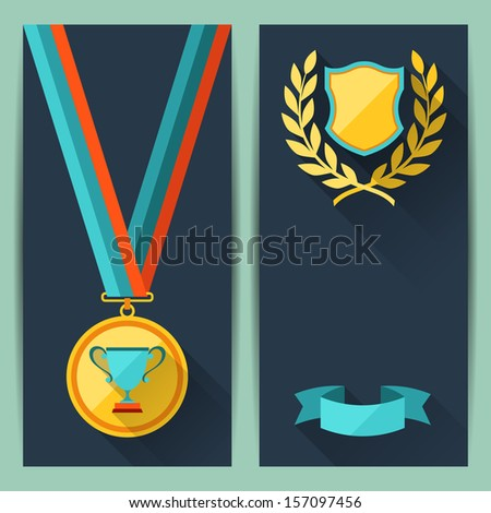 Certificate templates with trophies and awards. - stock vector