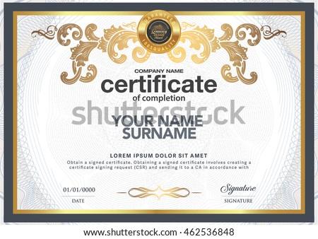 Certificate Be Elegant Stylish Certificate Award Stock Photo (Photo ...