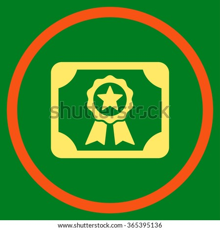 Certificate vector icon. Style is bicolor flat circled symbol, orange and yellow colors, rounded angles, green background. - stock vector