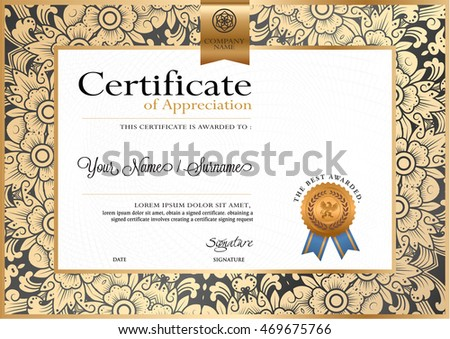 Certificate vector luxury template, Certificate premium of gold detailed. Diploma template.