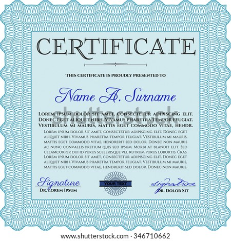 Certificate. With complex linear background. Artistry design. Detailed.
