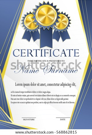 Certificate Gold Medal Template Fashionable Modern Stock Photo