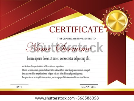 Certificate gold medal template fashionable modern stock vector certificate with gold medal template fashionable modern geometry vip red style vector illustration yadclub Image collections