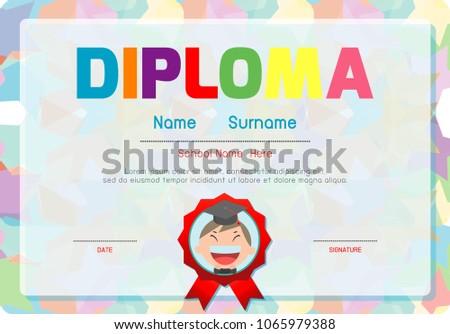 Certificates Kindergarten Elementary Preschool Kids Diploma Stock ...